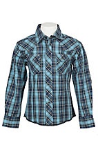 Wrangler Boys Blue Plaid Long Sleeve Western Shirt