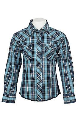 Wrangler Boys Blue Plaid Long Sleeve Western Shirt