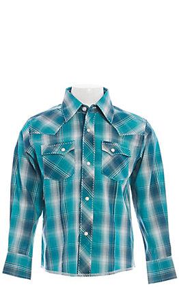 Wrangler Boys' Turquoise Plaid Short Sleeve Western Shirt