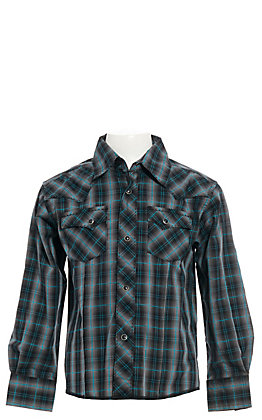 Wrangler Boy's Black and Turquoise Plaid Easy Care Long Sleeve Western Shirt