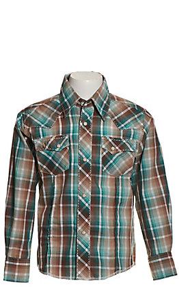 Wrangler Boys' Teal and Brown Plaid Easy Care Long Sleeve Western Shirt