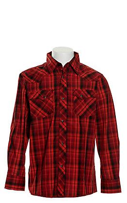 Wrangler Boys' Red and Black Plaid Long Sleeve Western Shirt