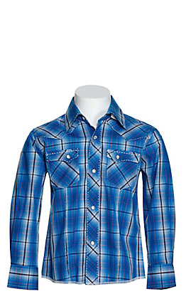Wrangler Boys' Blue Multi Plaid Long Sleeve Western Shirt