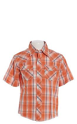 Wrangler Cavender's Exclusive Boys Orange Plaid Short Sleeve Western Shirt