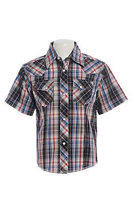 Wrangler Cavender's Exclusive Boys' Black, Red & Blue Plaid Short Sleeve Western Shirt
