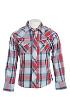 Wrangler Retro Boy's Blue and Red Plaid Long Sleeve Western Snap Shirt