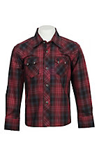 Wrangler Retro Boys' Vintage Red & Grey Plaid Western Snap Shirt