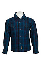 Wrangler Retro Boys' Vintage Red & Blue Plaid Western Snap Shirt