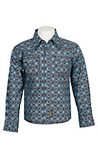 Wrangler Retro Boys' Brown & Light Blue Geo Print L/S Western Snap Shirt
