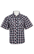 Wrangler Boy's Retro Navy and Blue Plaid S/S Snap Shirt