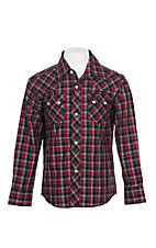 Wrangler Retro Boys Red and Black Plaid Long Sleeve Western Snap Shirt