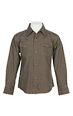Wrangler Retro Boys' Brown Spur Print Long Sleeve Western Snap Shirt