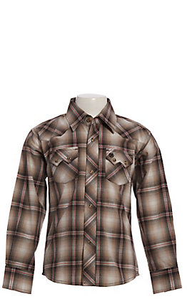 Wrangler Retro Cavender's Exclusive Boys' Brown Plaid Snap Western Shirt