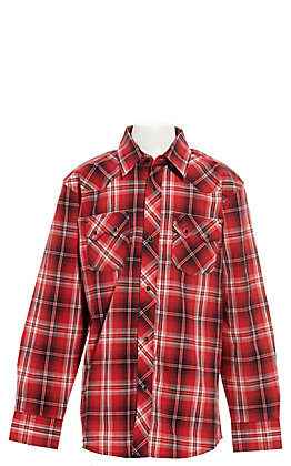 Wrangler Retro Boys' Red and Black Plaid Long Sleeve Western Shirt