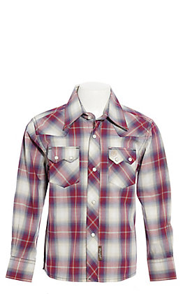 Wrangler Retro Boys' Red, Blue and White Plaid Long Sleeve Western Shirt