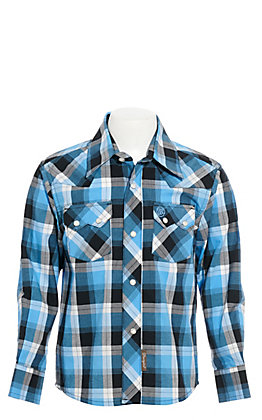 Wrangler Retro Boys' Blue Plaid Long Sleeve Western Shirt