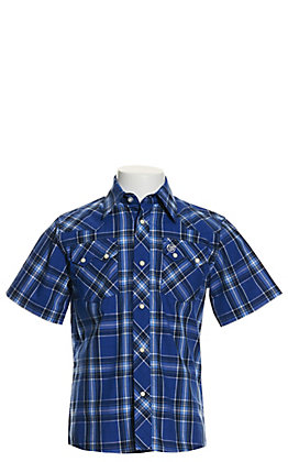 Wrangler Retro Boys' Blue Plaid Short Sleeve Western Shirt