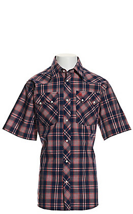 Wrangler Retro Boys' Navy & Red Plaid Short Sleeve Western Shirt