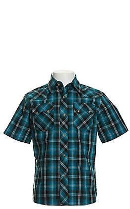 Wrangler Retro Boys' Turquoise & Black Plaid Short Sleeve Western Shirt