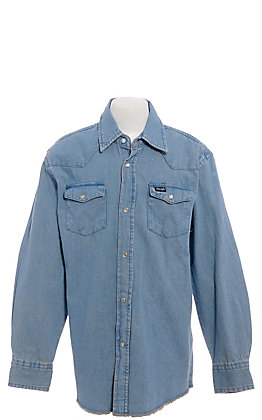 Wrangler Boys' Long Sleeve Denim Western Shirt