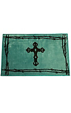 HiEnd Accents Turquoise Cross & Barbwire Bath Rug