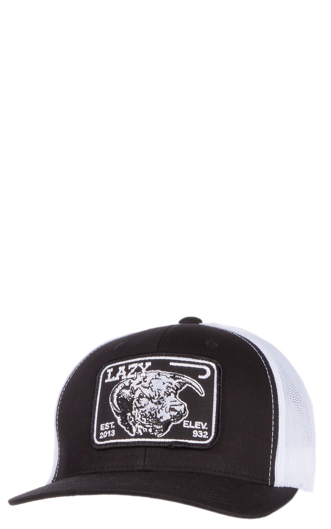 1518df7986d Lazy J Ranchwear Black   White Elevation Patch Snap Back Cap ...