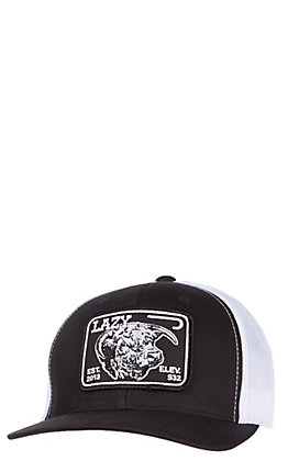 Lazy J Ranchwear Black & White Elevation Patch Snap Back Cap