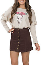 Wishlist Women's Burgundy Corduroy Mini Skirt