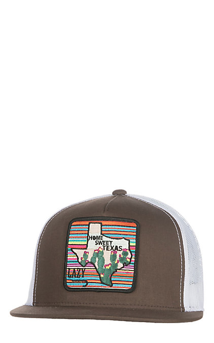 5835173d Lazy J Ranchwear Brown and White Home Sweet Texas Cap