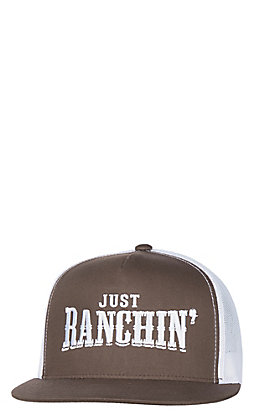 low priced 3c69d 83f88 Rodeo Time Brown   White Just Ranching Mesh Snap Back Cap