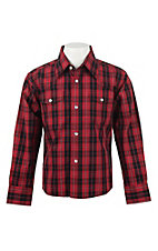 Wrangler Boy's Red Plaid L/S Classic Western Shirt
