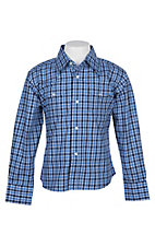 Wrangler Boys Blue Plaid Wrinkle Resist L/S Western Snap Shirt
