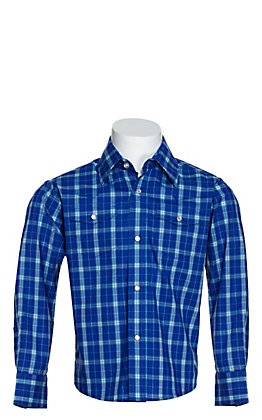 Wrangler Boys' Blue, Turquoise and White Plaid Wrinkle Resistant Stretch Long Sleeve Western Shirt