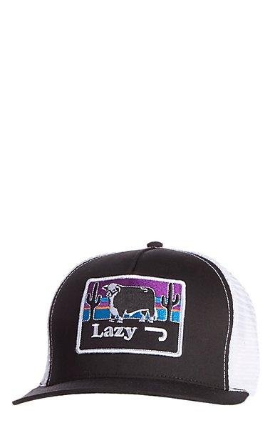 67985aa0b64 Lazy J Ranchwear Black   White Elevation Patch Snap Back Cap ...