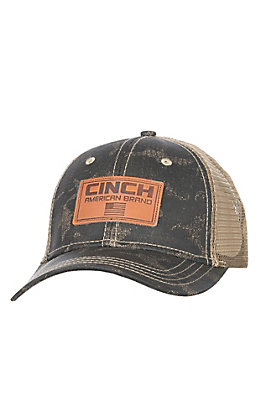 Cinch Men's Camo with Leather Logo Patch Mesh Back Cap