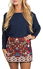 Umgee Women's Wine Embroidered Skirt