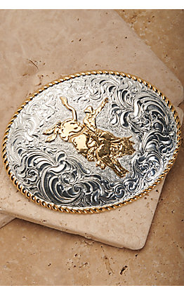 Crumrine Silver and Gold Bull Rider Oval Belt Buckle