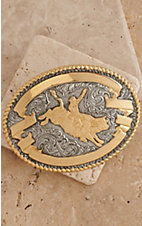 Crumrine Gold and Silver Bull Rider Oval Antique Buckle