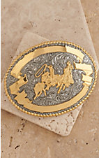 Crumrine Gold and Silver Team Roper Oval Antique Buckle