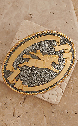 Crumrine Gold and Silver Bare Back Horse Rider Oval Antique Buckle