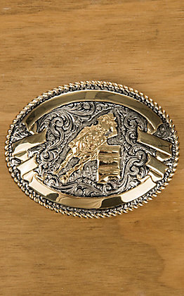 Crumrine Gold and Silver Female Barrel Racer Oval Antique Buckle