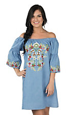 Umgee Women's Chambray Off the Shoulder 3/4 Bell Sleeve Dress