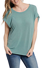 Umgee Women's Seafoam Green Short Sleeve Casual Knit Top