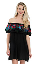 Umgee Women's Black with Floral Embroidered Ruffle Sleeveless Off the Shoulder Dress