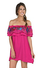 Umgee Women's Fuchsia Pink with Floral Embroidered Ruffle Sleeveless Off the Shoulder Dress