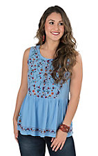 Umgee Women's Periwinkle Blue with Embroidery Sleeveless Fashion Top