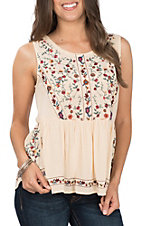 Umgee Women's Vanilla Sleeveless Babydoll Top with Floral Embroidered Top