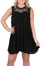 Umgee Women's Black Embroidered Sleeveless Dress
