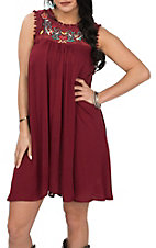 Umgee Women's Maroon Embroidered Sleeveless Dress