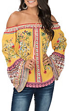 Umgee Women's Lemon Yellow Off the Shoulder Floral Print Bell Sleeve Top